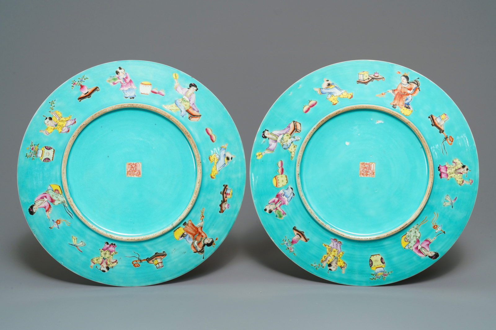 Lot 56 - A pair of Chinese famille rose turquoise-ground dishes, Jiaqing mark, 20th C.
