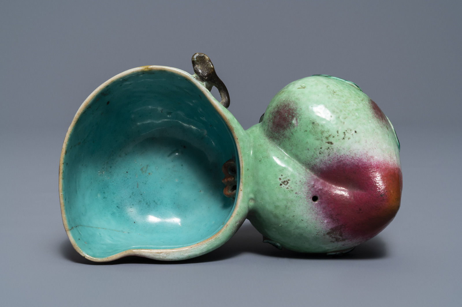 Lot 41 - A Chinese famille rose peach-shaped brush washer and a miniature 'Wu Shuang Pu' vase, 19th C.