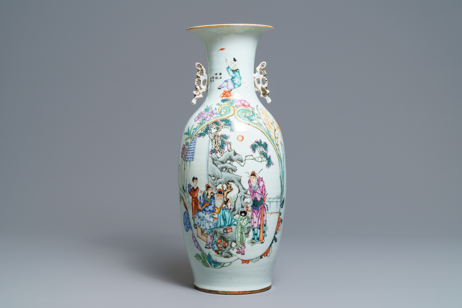 Lot 60 - A fine Chinese famille rose two-sided design vase, 19/20th C.