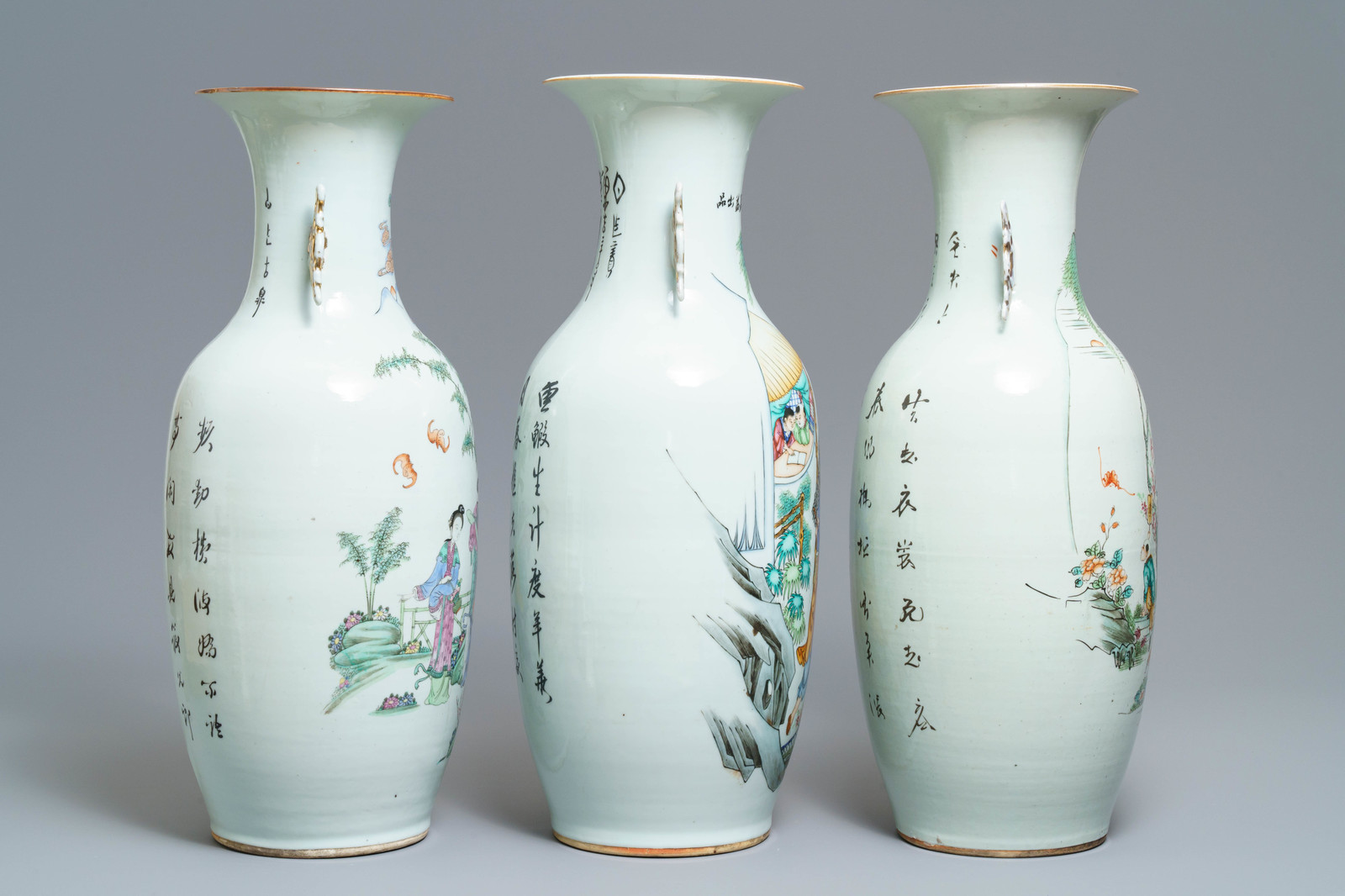 Lot 23 - Three Chinese famille rose vases with figural design, 19/20th C.