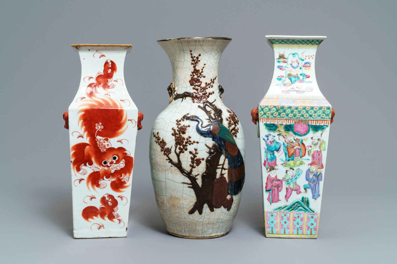 Lot 37 - Three Chinese famille rose and Nanking vases, 19th C.