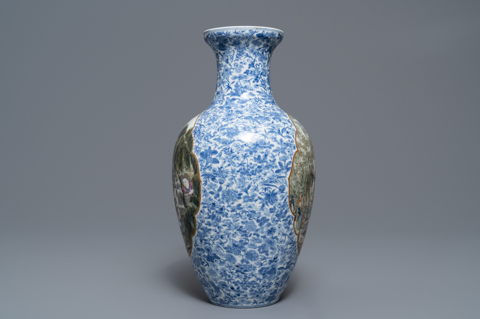 Lot 12 - A Chinese famille rose vase, Qianlong mark, Republic, 20th C.