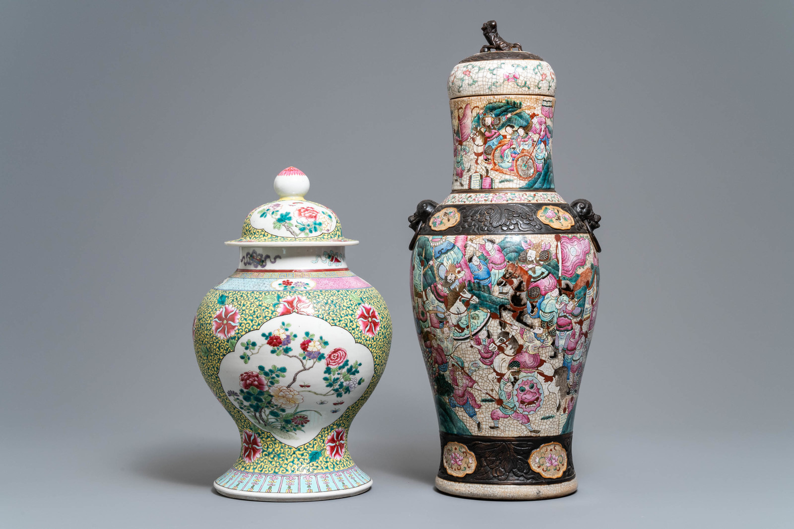 Lot 58 - Two Chinese famille rose vases and covers, 19/20th C.
