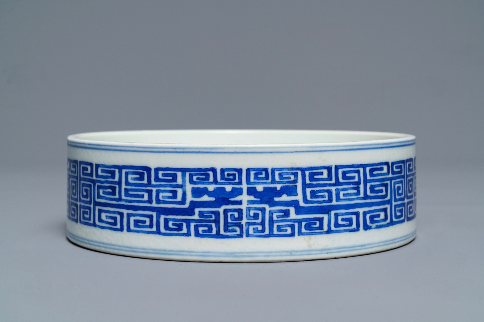 Lot 14 - A Chinese blue and white archaic design censer, Guangxu mark, 19/20th C.