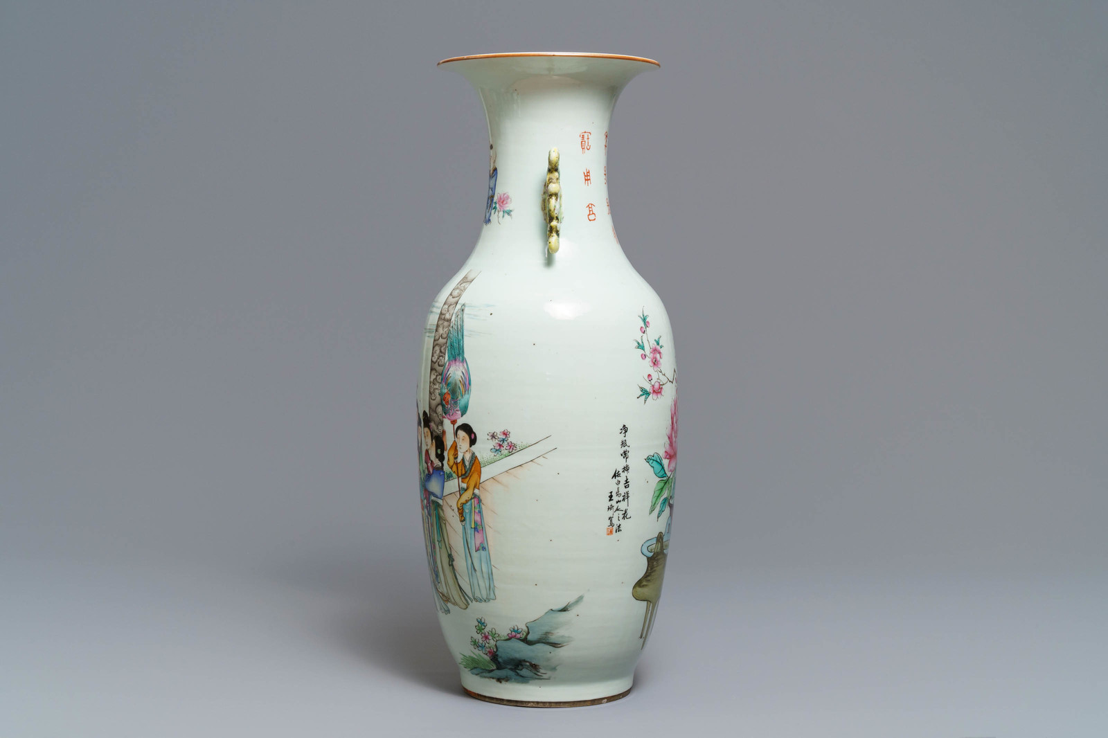 Lot 24 - A Chinese famille rose two-sided design vase, 19/20th C.