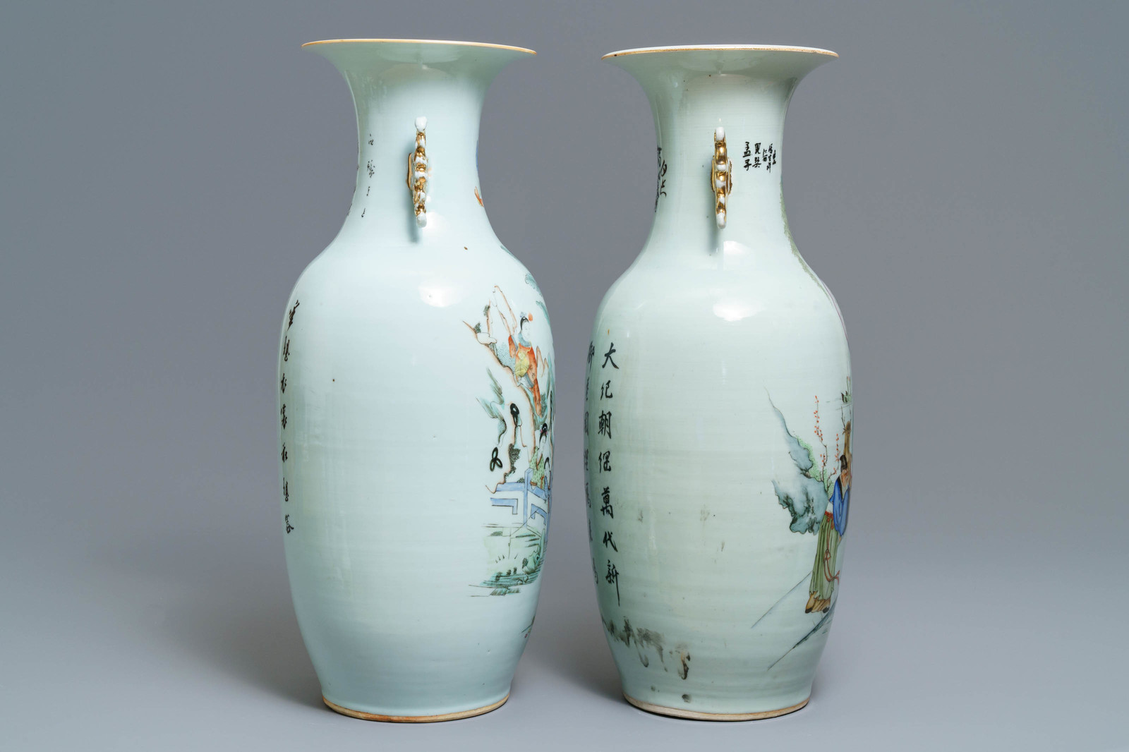 Lot 35 - Two Chinese famille rose vases with figures in a garden, 19/20th C.