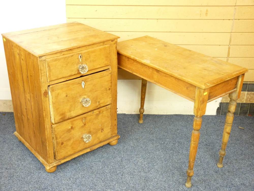 Lot 99 - ANTIQUE PINE THREE DRAWER CHEST and a rectangular pine side table on tapered supports, various