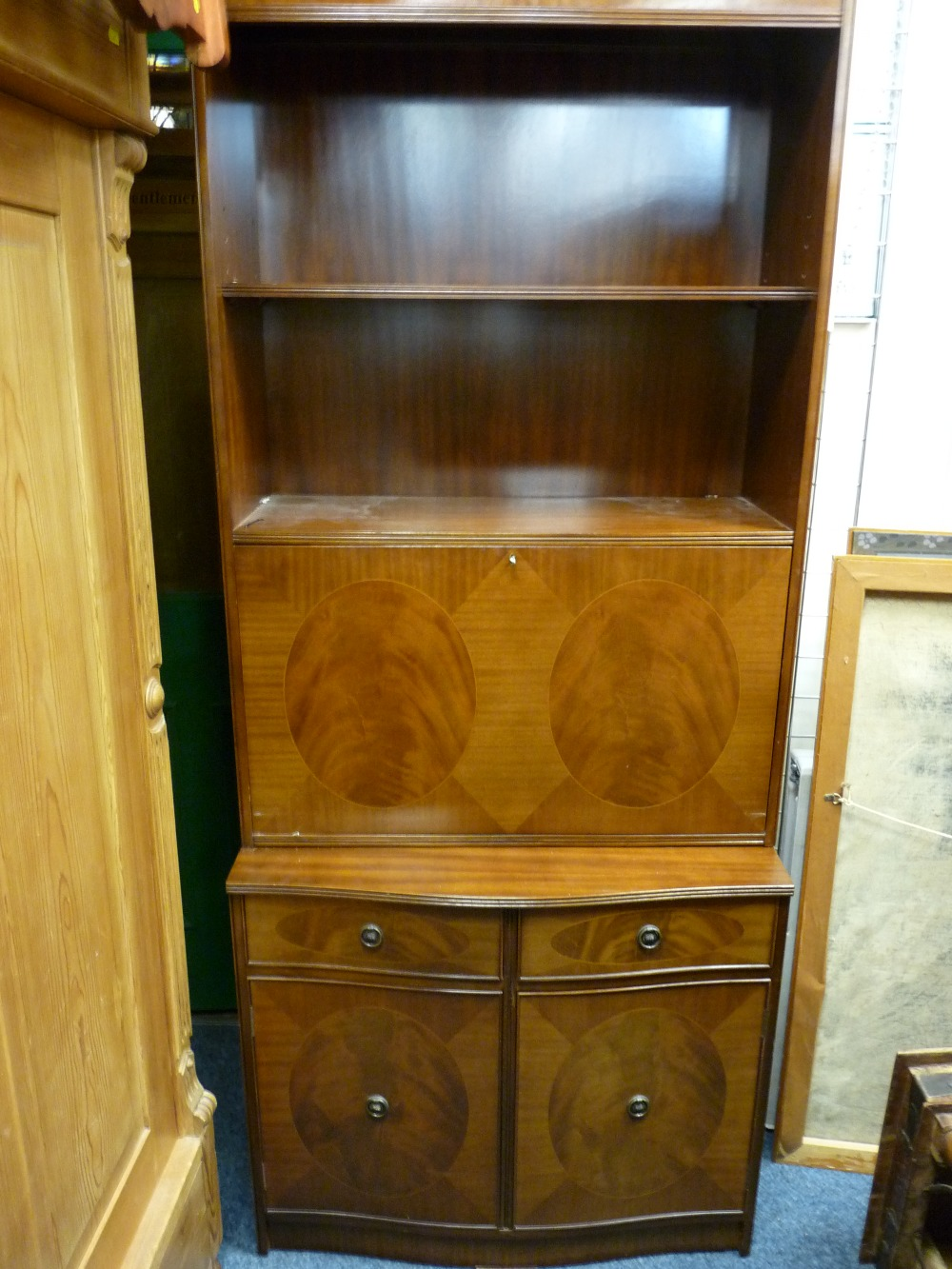 Lot 90 - POLISHED WOOD SIDEBOARD BY 'STRONGBOW FURNITURE' with six drawers and twin central cupboards, a