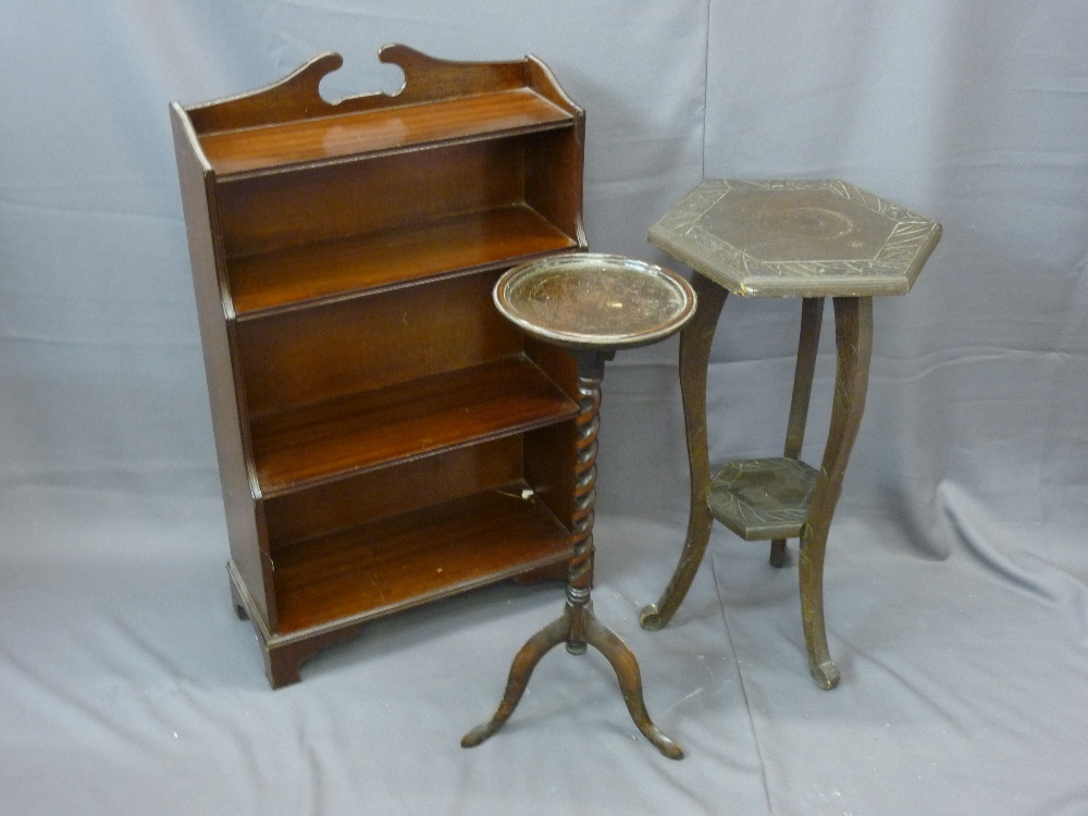 Lot 80 - MAHOGANY WATERFALL FOUR SHELF BOOKCASE, barley twist planter stand and an octagonal carved top
