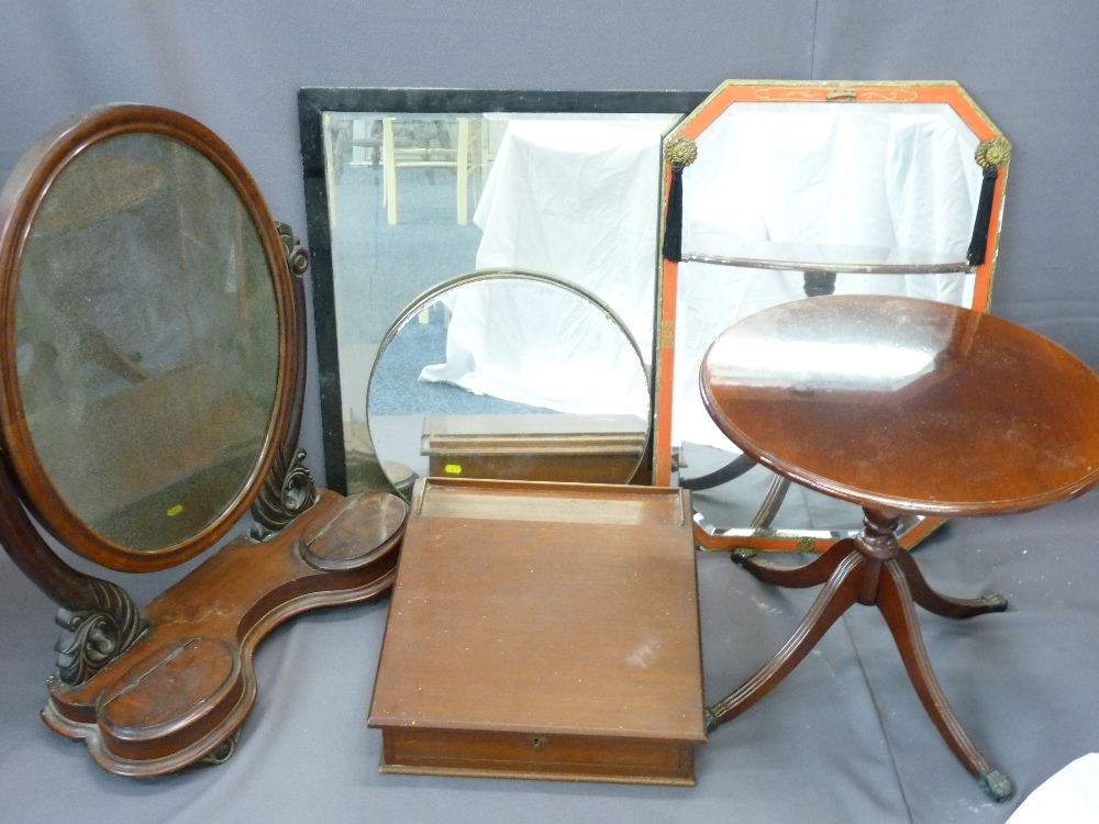 Lot 79 - VICTORIAN MAHOGANY OVAL TOILET MIRROR with twin lift up lid compartments, a circular occasional