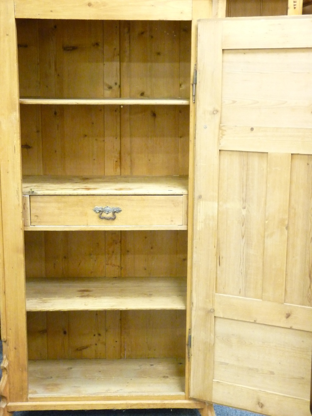 Lot 86 - ANTIQUE PINE SINGLE DOOR CUPBOARD with interior shelves and central drawer, 160cms height, 98cms
