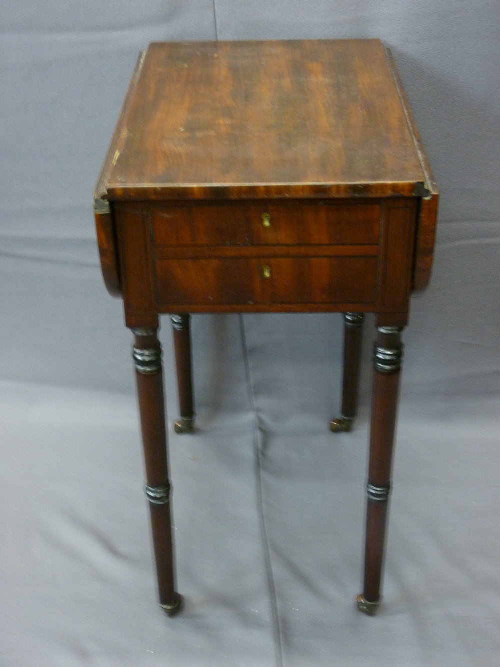 Lot 26 - ANTIQUE PEMBROKE TABLE on turned supports with two single end drawers, a two tier planter and a