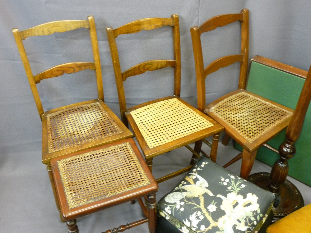 Lot 31 - THREE CANE SEATED CHAIRS, a foot stool, cane seated stool, reeded decorated standard lamp ETC