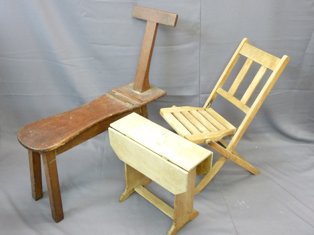 Lot 44 - PITCH PINE SEATED ARTIST'S BENCH, a folding chair and rustic sofa table