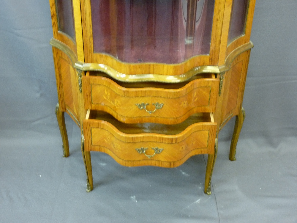 Lot 1 - SERPENTINE FRONT KINGWOOD CABINET with two lower drawers, 154cms height, 90cms width, 48cms depth