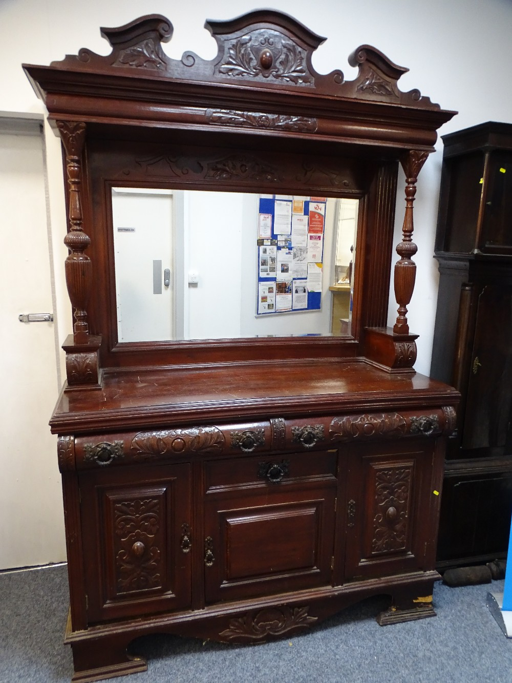 Lot 83 - SUBSTANTIAL EDWARDIAN MIRROR BACK SIDEBOARD with reeded canopy support pillars, carved detail and