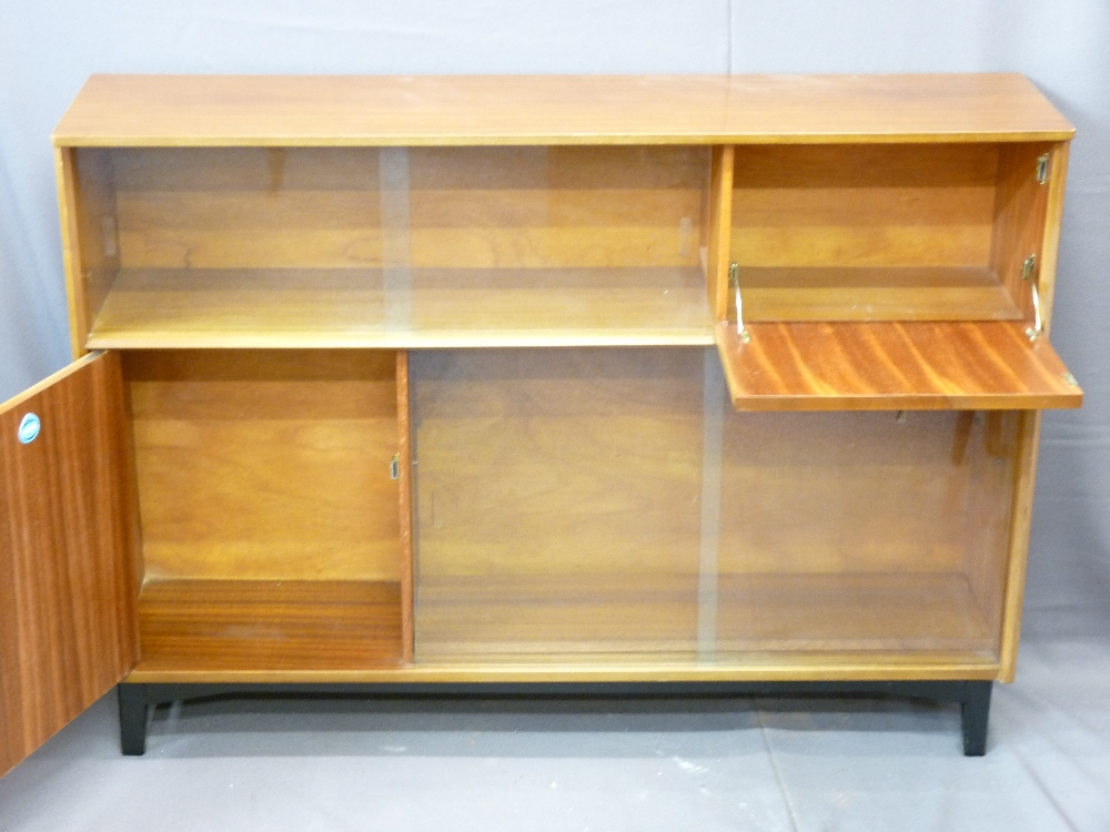 Lot 100 - NATHAN TEAK DISPLAY CABINET, Long-John coffee table, two smaller similar and one other teak square
