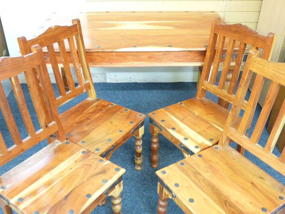 Lot 84 - MEXICAN RUSTIC STYLE DINING TABLE WITH FOUR CHAIRS, 77cms height, 150cms width, 92cms depth