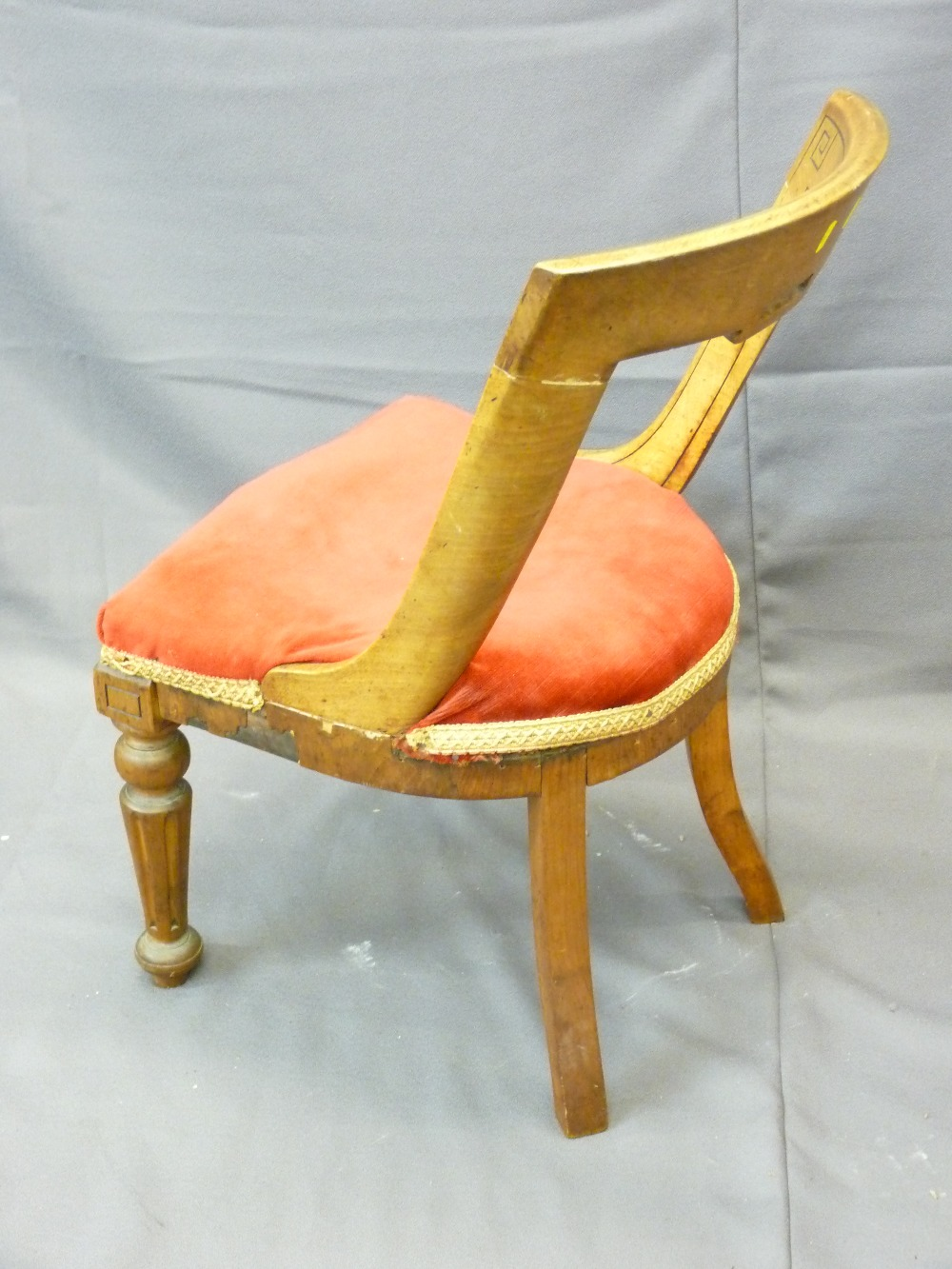 Lot 6 - ARTS & CRAFTS STYLE CHAIR with red upholstered seat and reeded tapered front supports