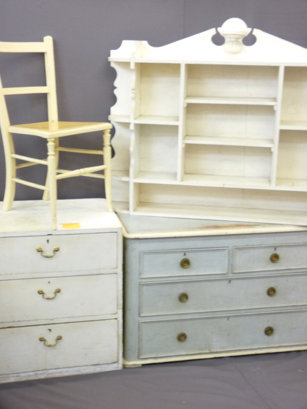 Lot 71 - PARCEL OF VINTAGE PAINTED FURNITURE including pine two over two chest, pine three drawer chest and