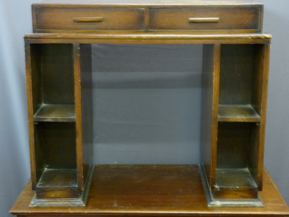 Lot 75 - MAHOGANY INLAID TWO SHORT OVER TWO LONG DRAWER DRESSING CHEST, Deco style bookcase desk with two