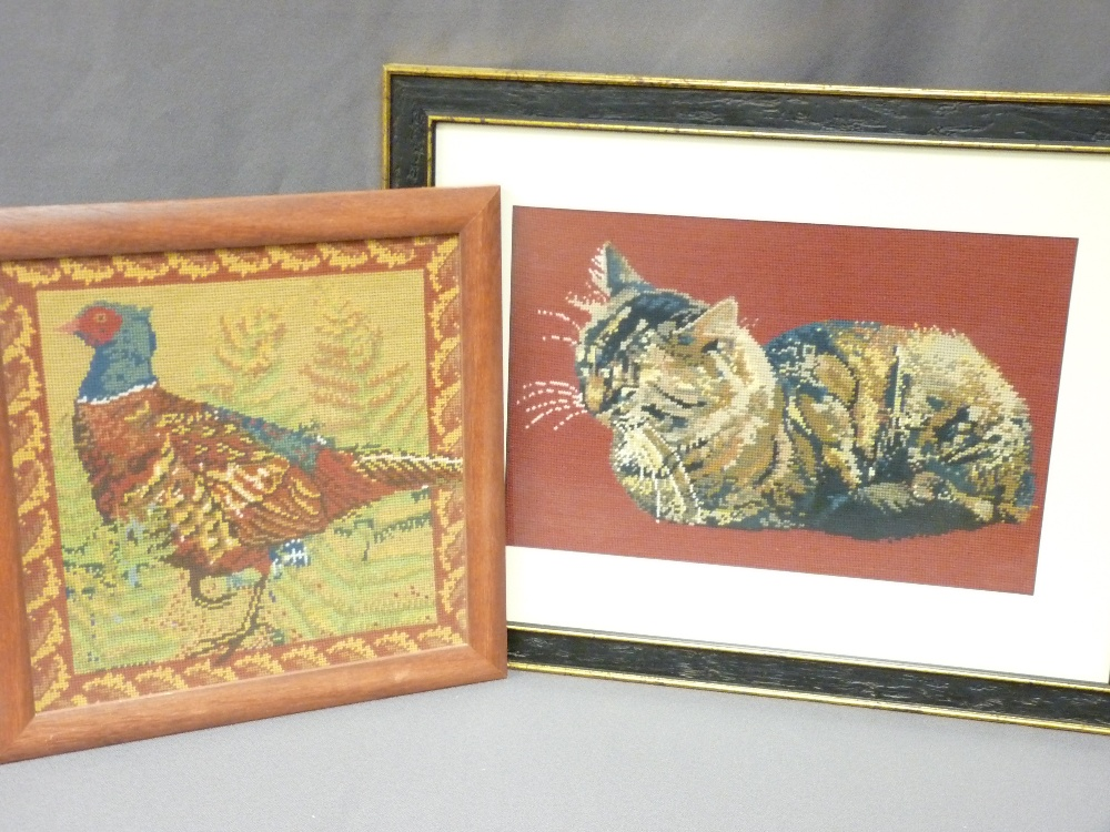 Lot 239 - PARCEL OF FIVE FRAMED BIRD/ANIMAL TAPESTRIES and two floral similar
