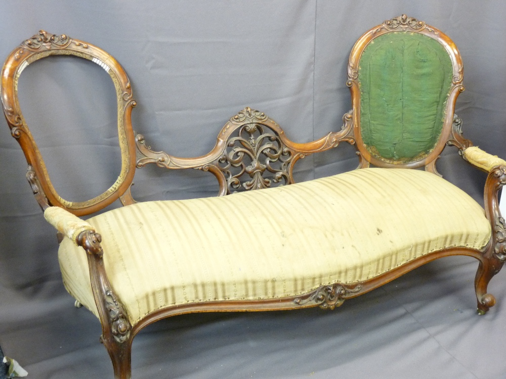 Lot 14 - WALNUT DOUBLE CAMEO BACK CHAISE LONGUE with intricate carvings on cabriole supports