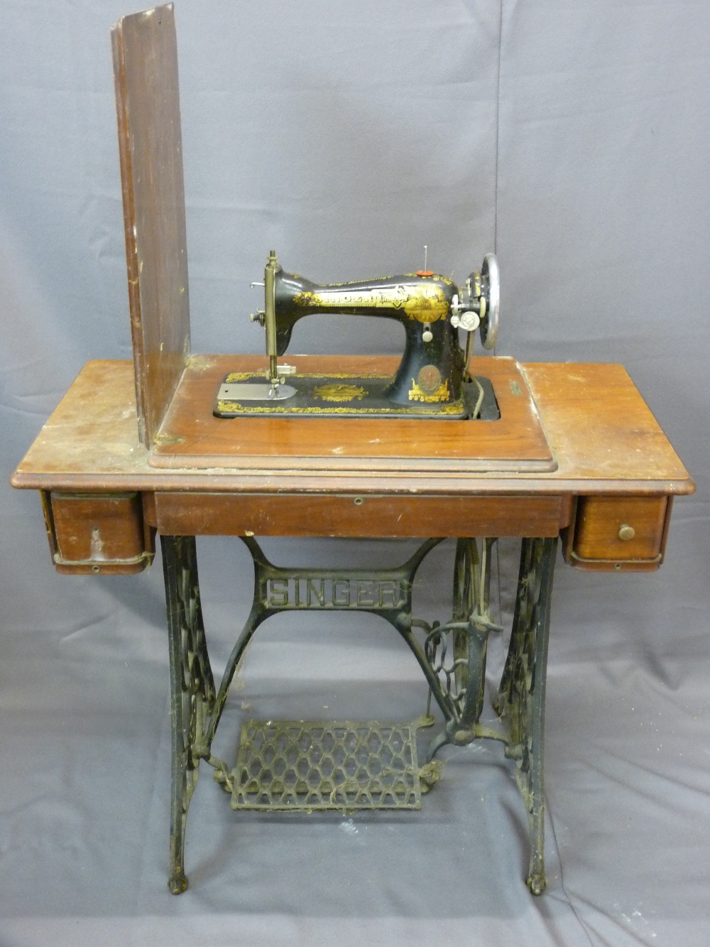 Lot 72 - VINTAGE SINGER CASED TREADLE SEWING MACHINE