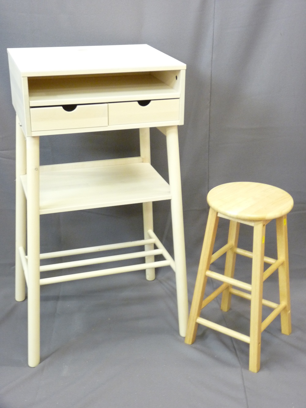 Lot 74 - MODERN IKEA STYLE MAKE-UP TABLE/DESK/UTILITY UNIT and a lightwood stool