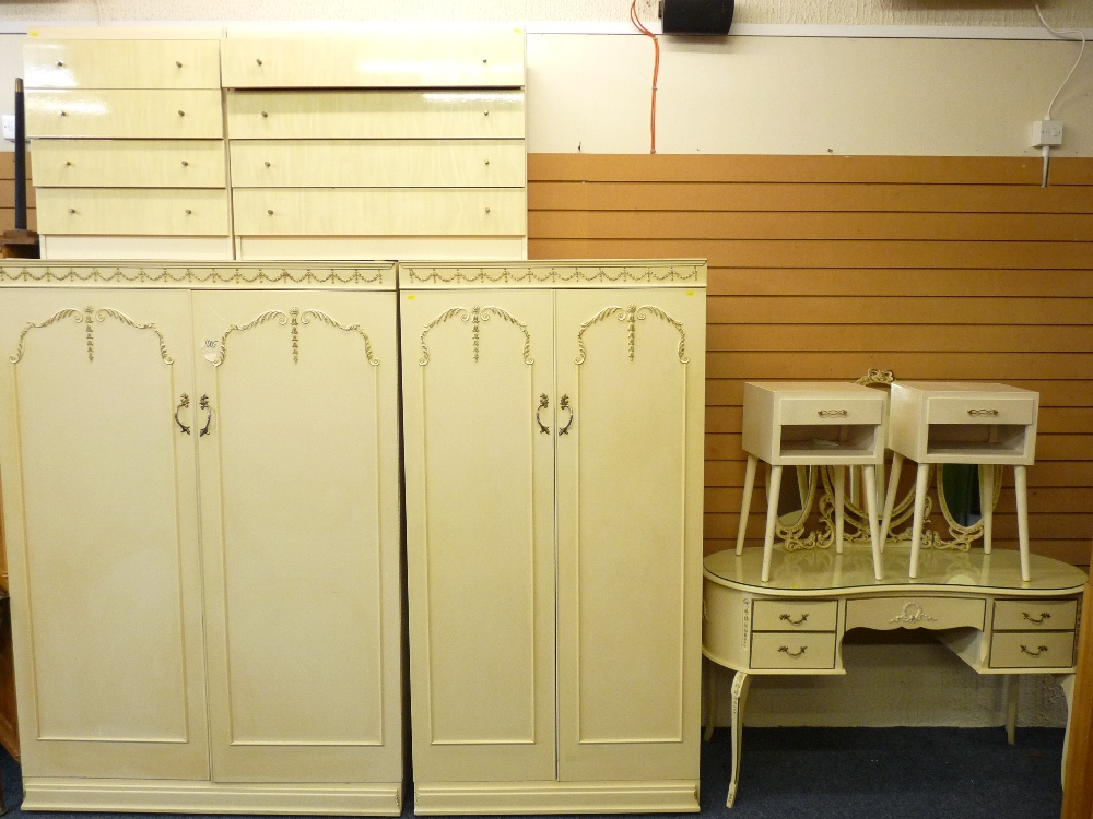 Lot 93 - FRENCH PROVINCIAL STYLE BEDROOM FURNITURE consisting of gentleman's and lady's wardrobe, dressing