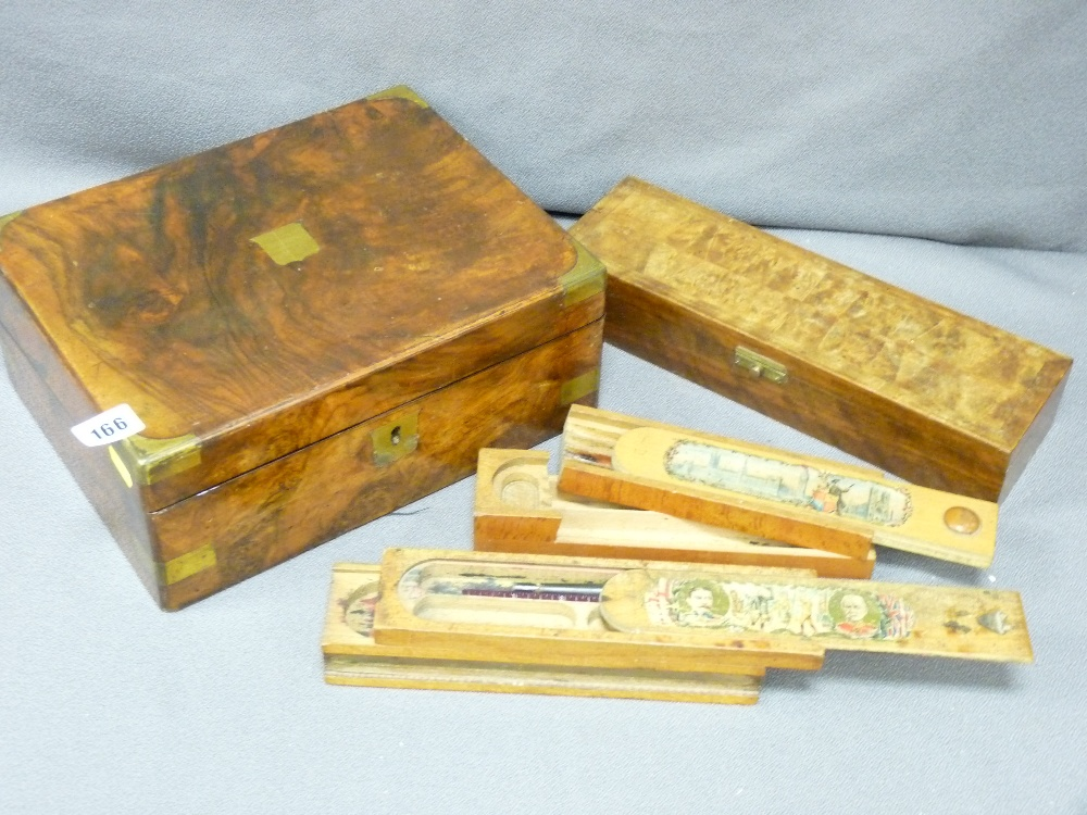 Lot 166 - VICTORIAN WRITING SLOPE WITH BRASS MOUNTS, a quality walnut glove box and two vintage wooden
