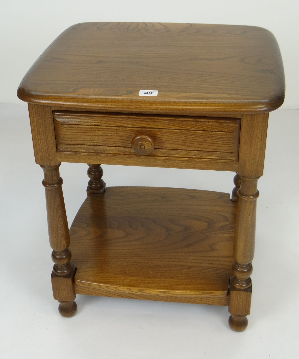 Lot 39 - SMALL ERCOL TWO TIER TABLE with single drawer, turned knob, 47cms wide