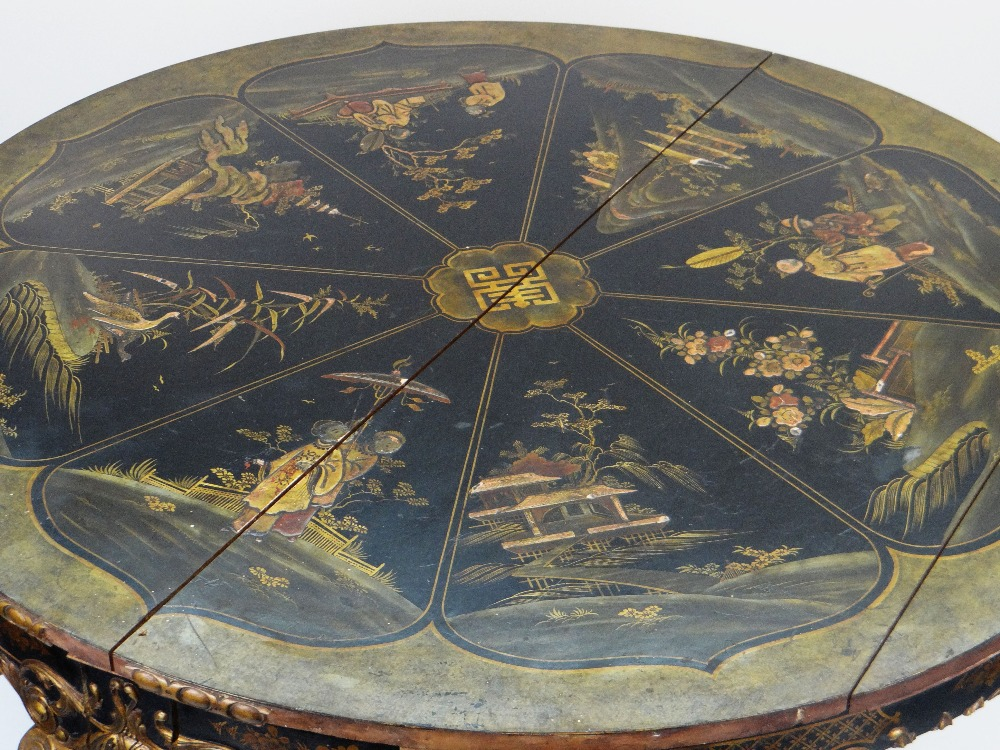 Lot 1 - CIRCULAR JAPANNED BREAKFAST TABLE, top with eight panels containing raised decoration with