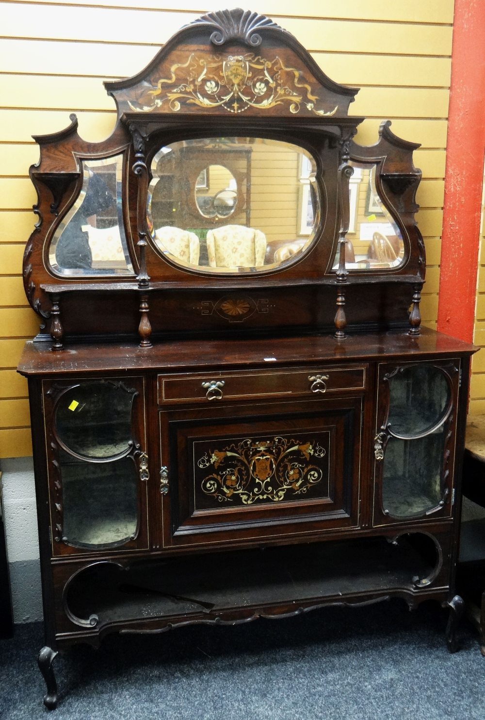Lot 12 - TURN OF THE CENTURY ROSEWOOD & MARQUETRY CABINET SIDEBOARD composed of flanking glass cabinets,