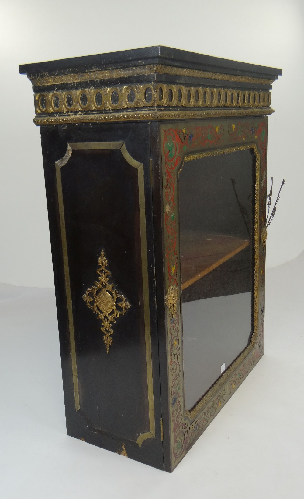 Lot 3 - 19TH CENTURY PIER CABINET, gilt metal and coloured enamel mounting, single glazed door, 75cms wide