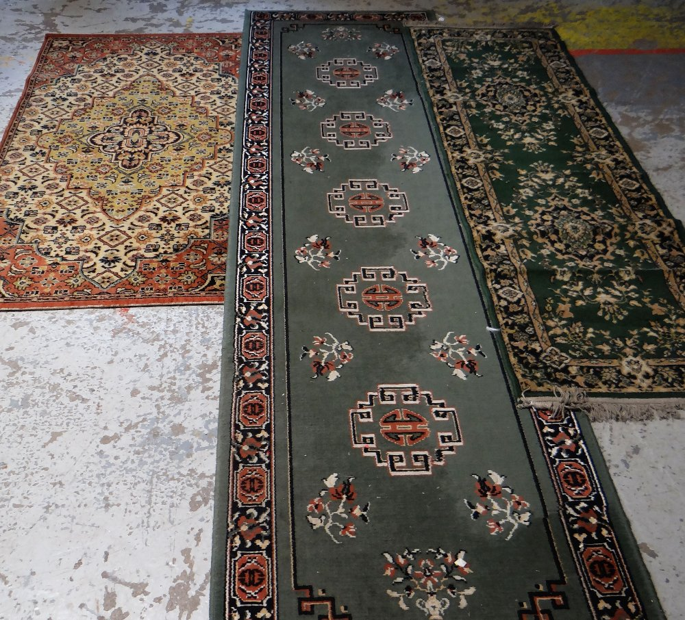 Lot 57 - LARGE MAINLY RED & BLUE GROUND PERSIAN STYLE WOOLEN RUG with centre medallion and border, 370 x