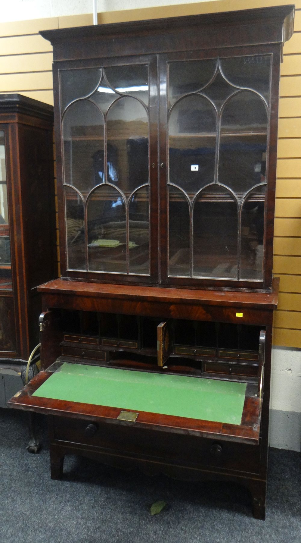 Lot 14 - 19TH CENTURY MAHOGANY SECRETAIRE BOOKCASE, the base of two drawers and drop down writing desk