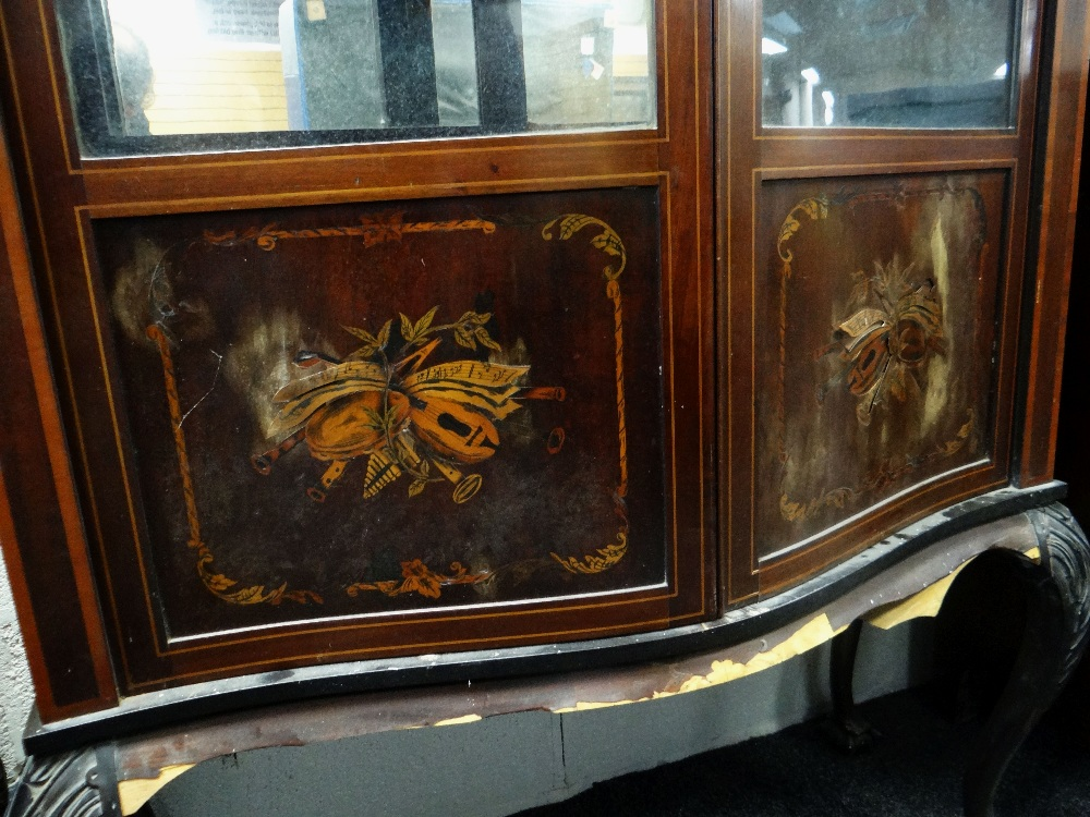 Lot 15 - EDWARDIAN SERPENTINE GLAZED BOOKCASE on carved ball and claw supports, for restoration, 213cms high