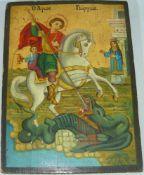 Ikone mit Georg dem Drachentöter. Holz, handbemalt. Wohl russisch. Wohl alt o. antik. Maße ca. 20x27