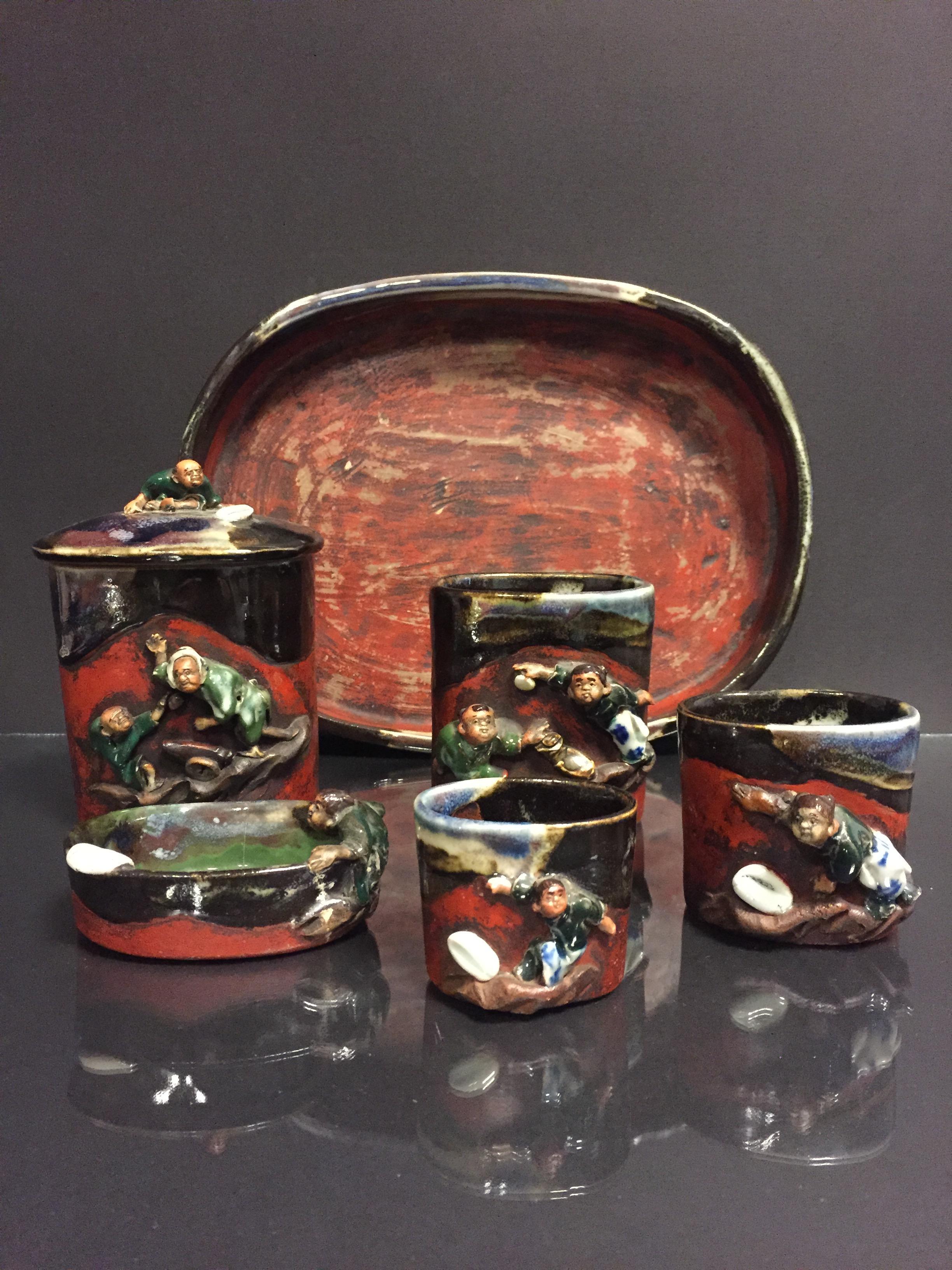 Lot 2 - JAPON. Nécessaire de fumeur comprenant 7 pièces, porcelaine émaillée à décor en [...]