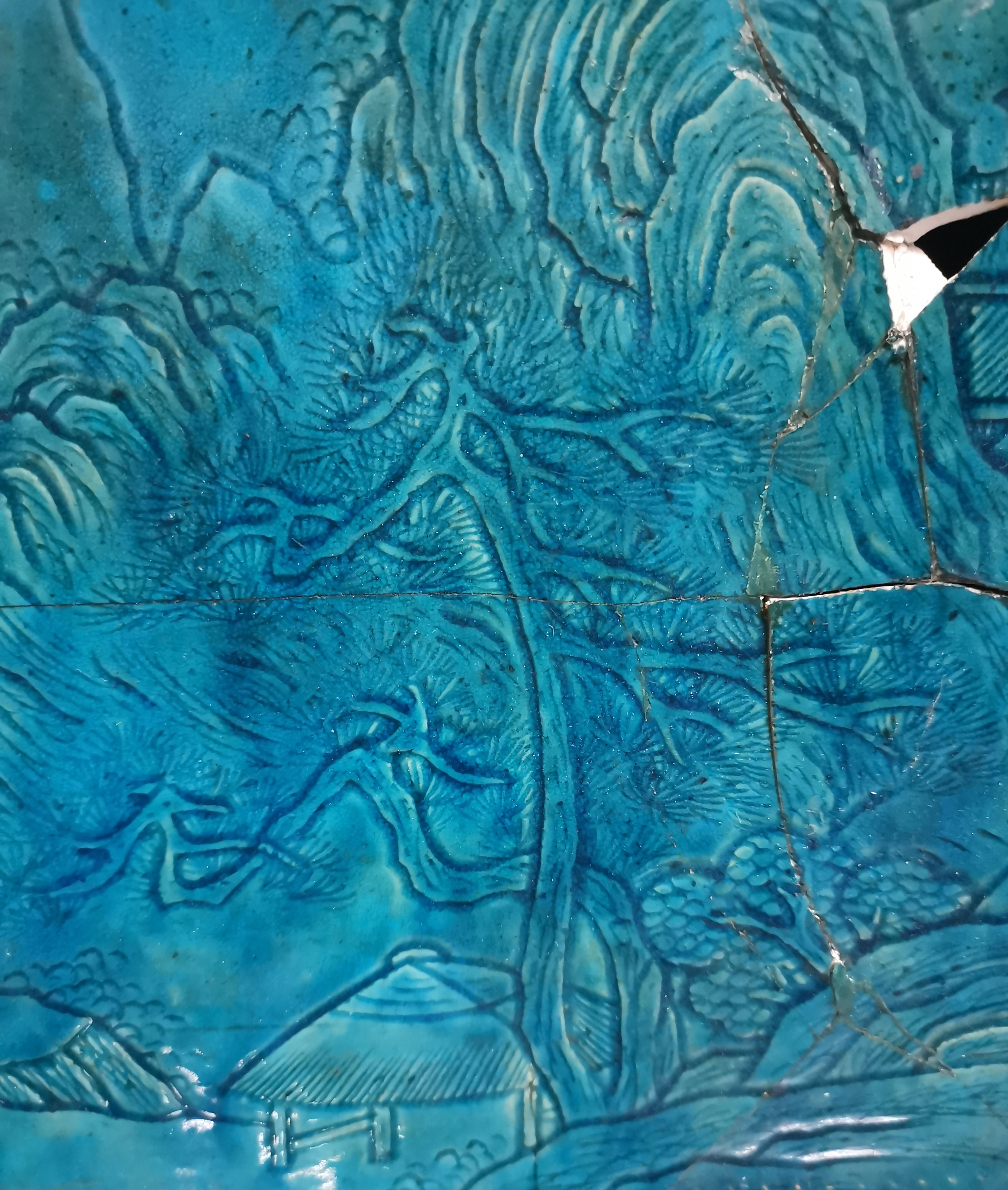 Lot 39 - Plaque en grès émaillé turquoise. Chine, époque Kangxi (1662-1722). [...]