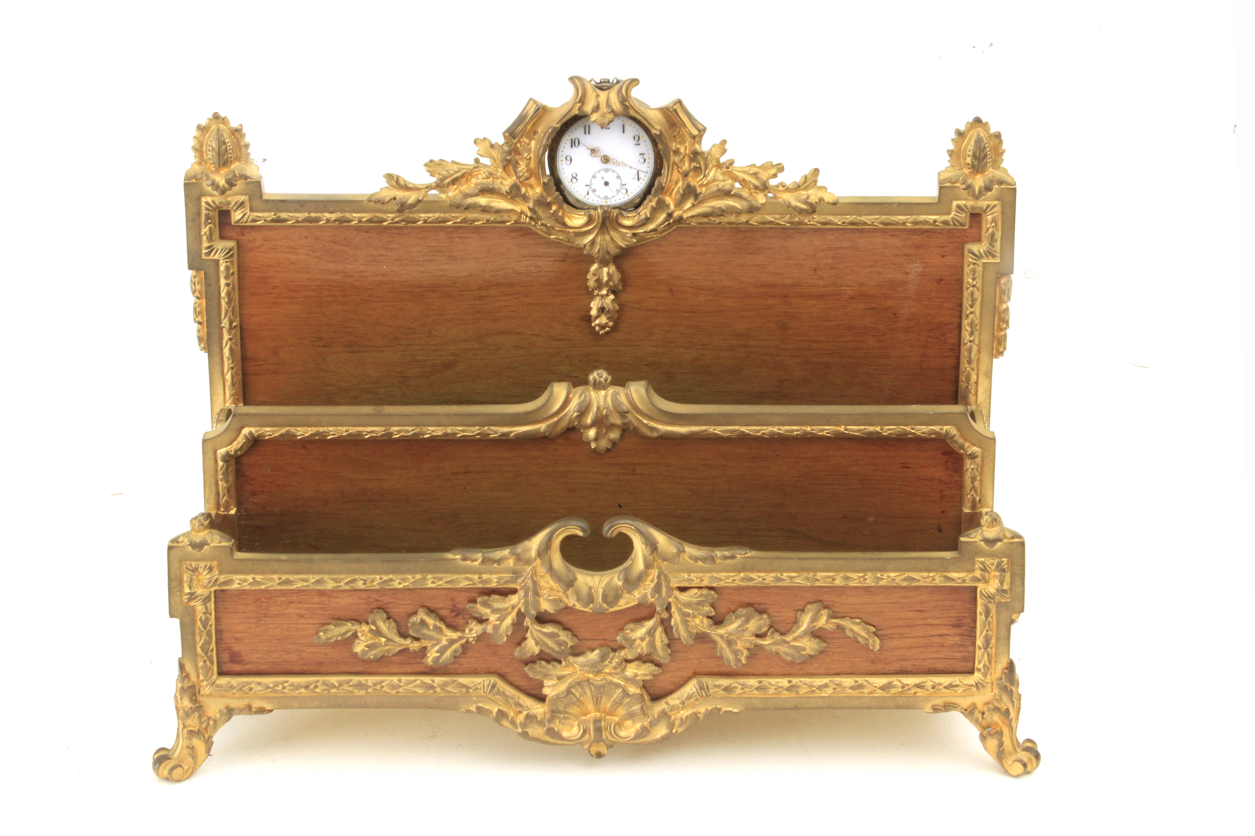 Lot 299 - A 19th century French Empire period walnut and gilt bronze letter rack