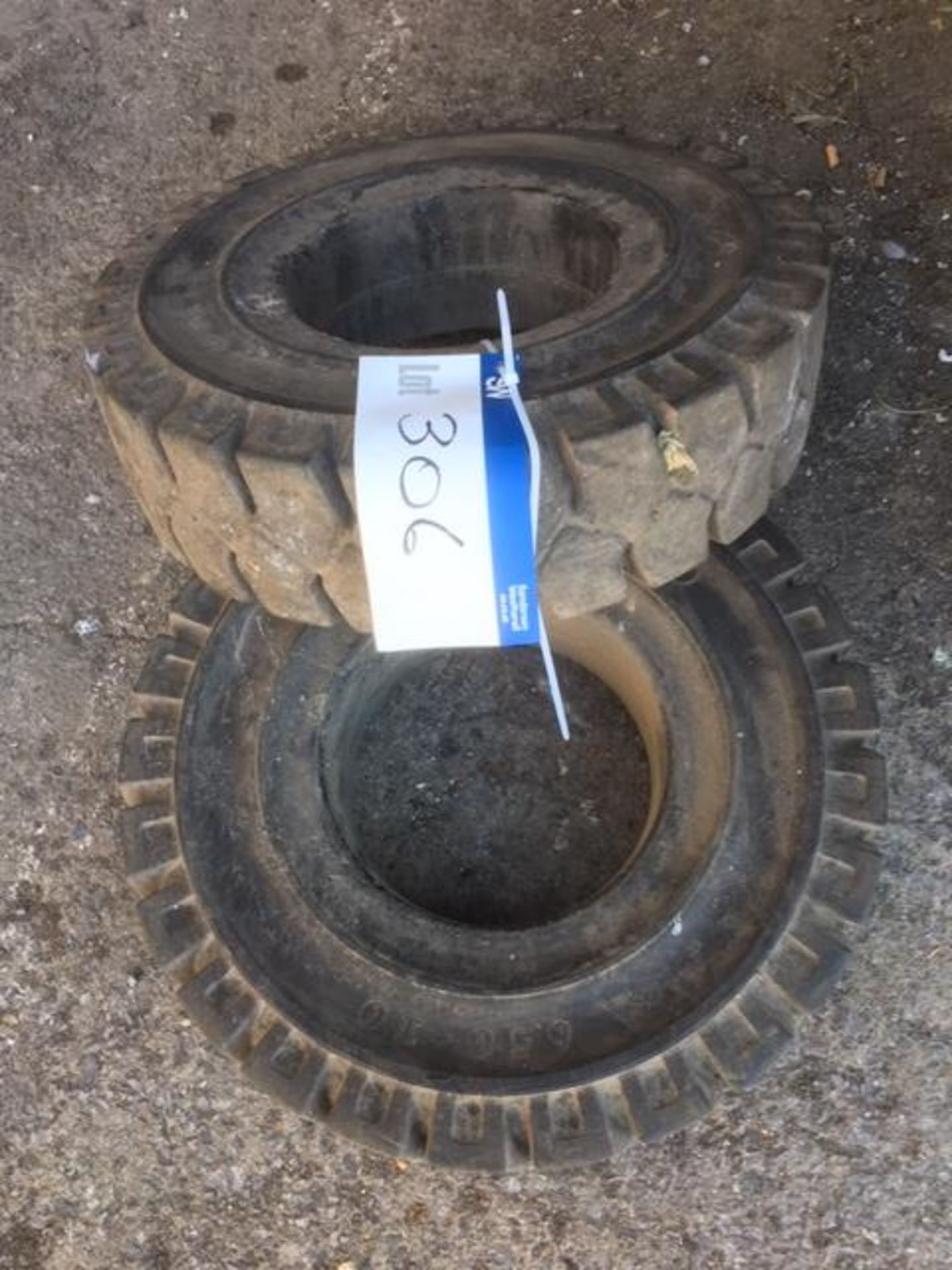 Lot 306 - Two Solid Rubber Fork Truck Tyres, each 6.50 - 10