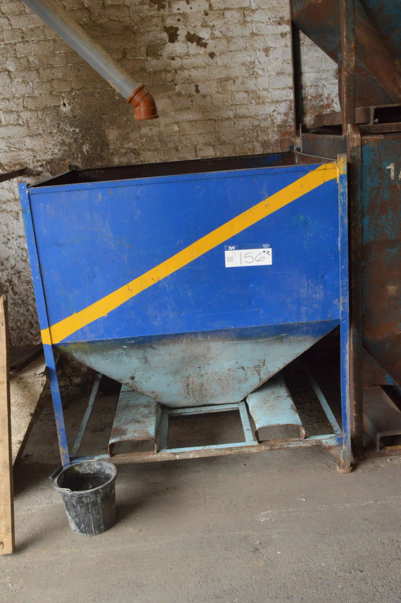 Lot 156 - Two x 1 tonne Hopper Bottom Tote Bins, each approx. 1.43m x 1.2m x 1.33m deep overall, with fork