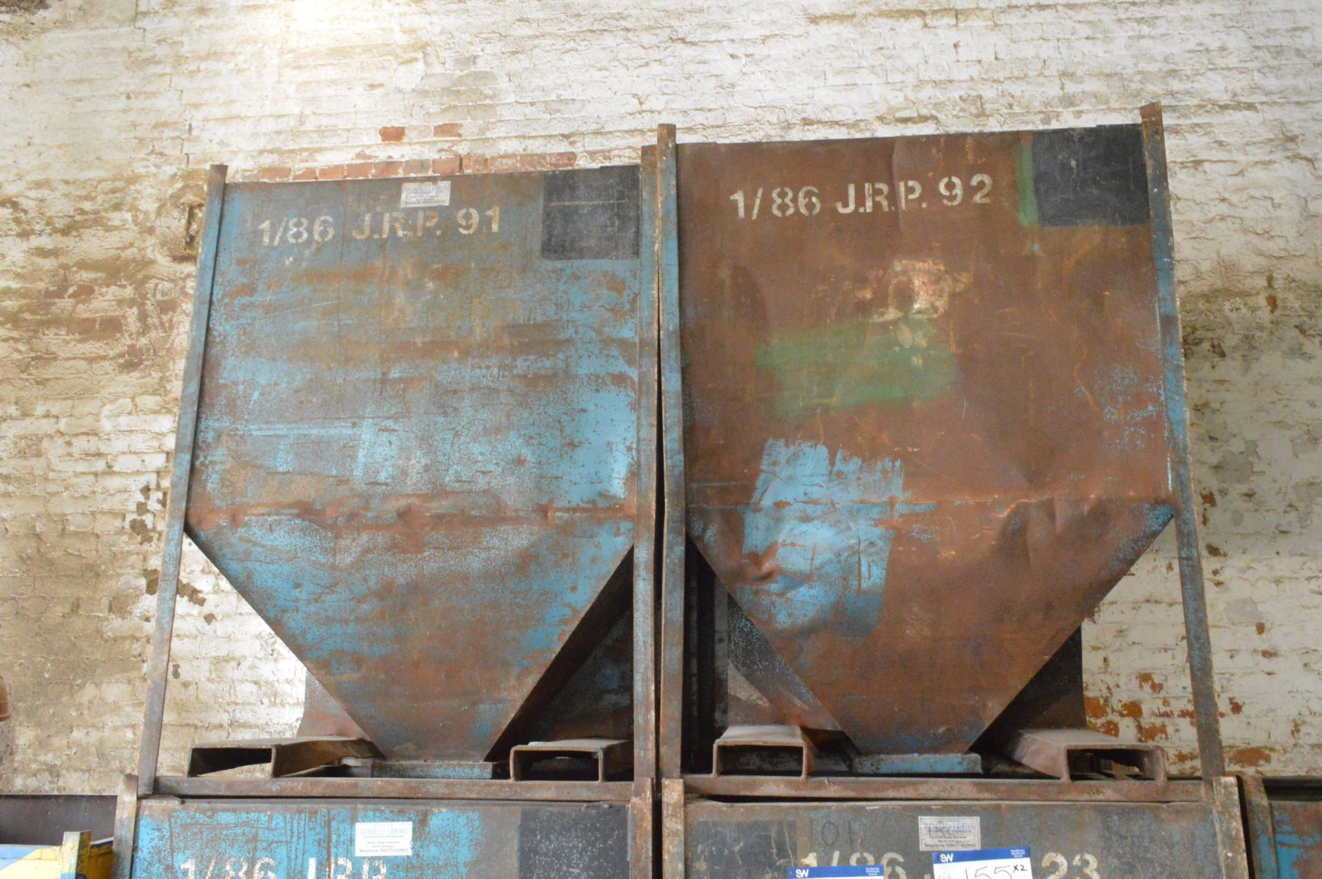 Lot 152 - Two x 1 tonne Hopper Bottom Tote Bins, each approx. 1.25m x 1.1m x 1.6m deep overall, with fork lift