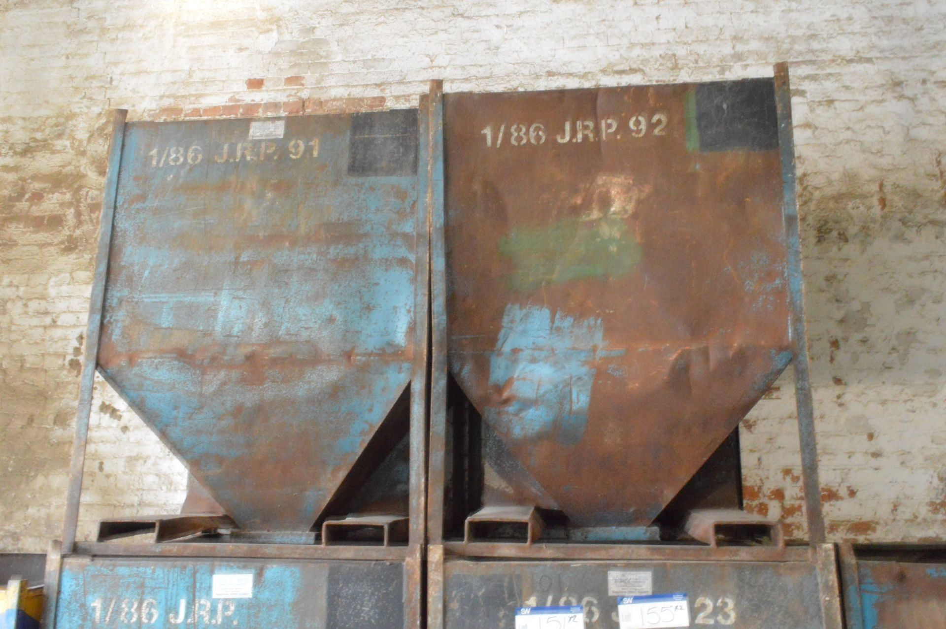 Lot 153 - Two x 1 tonne Hopper Bottom Tote Bins, each approx. 1.25m x 1.1m x 1.6m deep overall, with fork lift