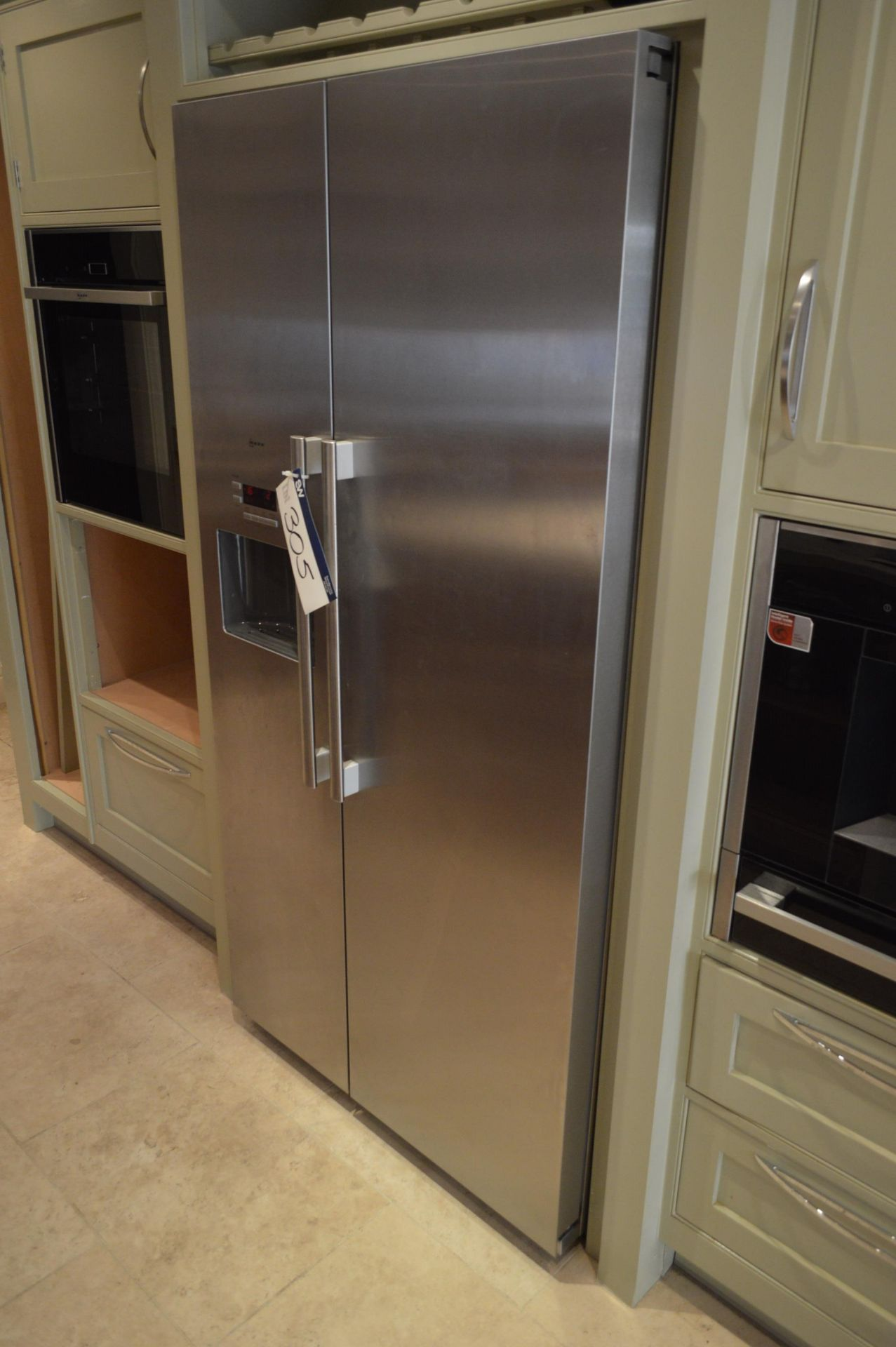 Lot 305 - Neff KAP90 Brushed Stainless Steel American Type Fridge Freezer, serial no. K3990X7GB/10, 900mm x