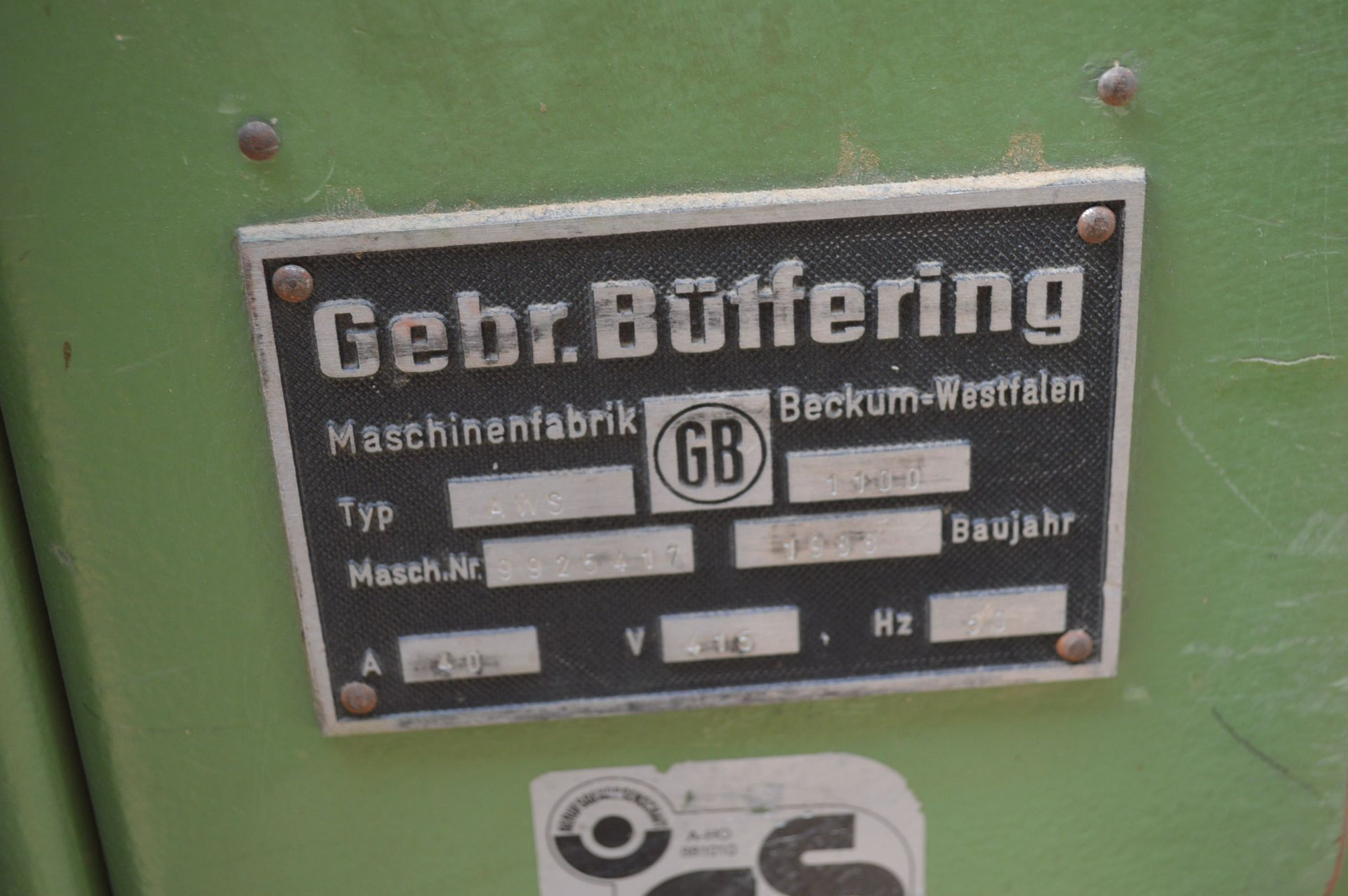 Lot 5 - Gebr Butfering AWS1100mm WIDE BELT SANDER, serial no. 9925417, year of manufacture 1988
