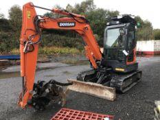 Doosan DX63-3 Tracked Mini Excavator, identification no. DHKCEAAYVH6001964, year of manufacture