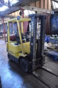 Hyster H1.75XM LPG Fork Lift Truck, serial no. D001B09108V, year of manufacture 1998, indicated